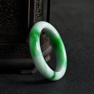 55.5mm糯种翠绿翡翠手镯