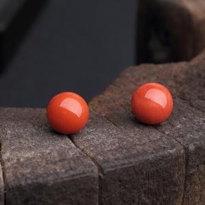 11mm沙丁朱红珊瑚圆珠