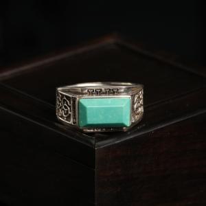 銀鑲高瓷藍綠松石戒指