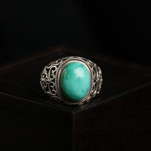 银镶高瓷蓝绿松石戒指