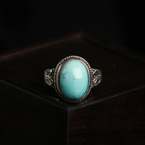 银镶中高瓷铁线蓝绿松石戒指
