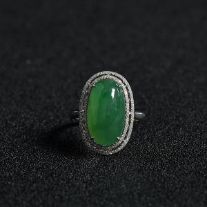 糯冰種陽綠翡翠戒指吊墜套裝