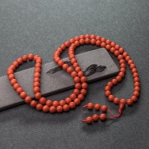8.5mm沙丁橘紅珊瑚108佛珠