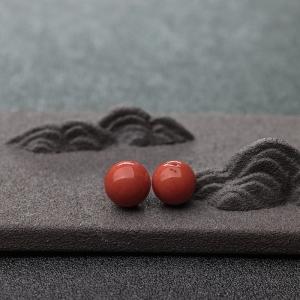 9.7mm沙丁橘红珊瑚圆珠(两件)