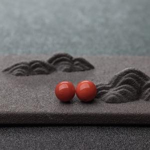 9mm沙丁橘红珊瑚圆珠(两件)
