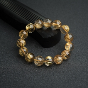14mm鈦金發晶手串
