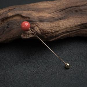 18K金镶沙丁橘红珊瑚圆珠胸针