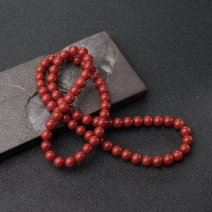7mm沙丁正紅珊瑚多圈手串