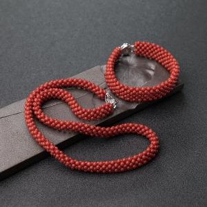 沙丁朱紅珊瑚圓珠編織套裝(兩件)