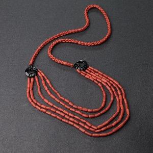 沙丁朱紅珊瑚毛衣鏈