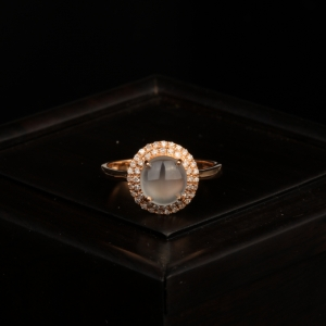 18k冰種無色翡翠戒指