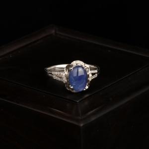18k星光淺藍色藍寶石戒指