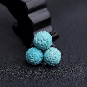 中高瓷蓝绿松石回纹珠(三件)