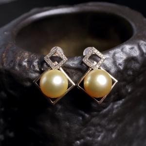 18k金镶钻金色珍珠耳环