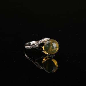 银镶金兰珀戒指