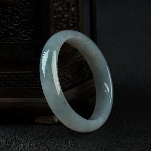 58.49mm糯冰種飄花翡翠手鐲