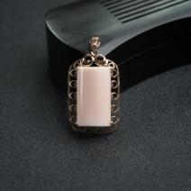 18K金镶钻MISU粉色珊瑚吊坠