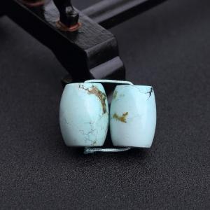 中高瓷鐵線淺藍綠松石桶珠(兩件)