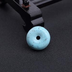 高瓷铁线蓝绿松石平安扣吊坠