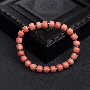 MOMO粉红珊瑚桶珠单圈手串