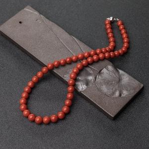 8.5mm沙丁朱紅珊瑚項鏈