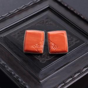 18K金鑲MOMO橘紅珊瑚耳釘