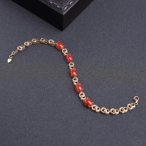 18K金鑲鉆阿卡正紅珊瑚手鏈