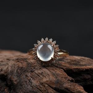 18k高冰種無色翡翠戒指