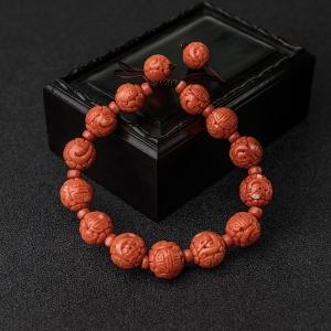 MOMO橘红珊瑚龙珠单圈手串