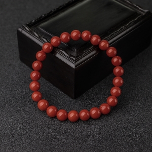 7mm沙丁朱红珊瑚单圈手串