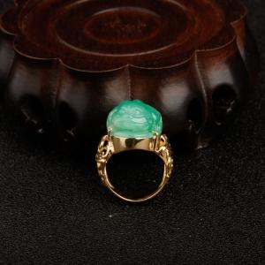 糯种阳绿翡翠招财进宝戒指