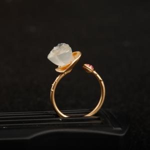 18K金镶冰种翡翠多子多福戒指