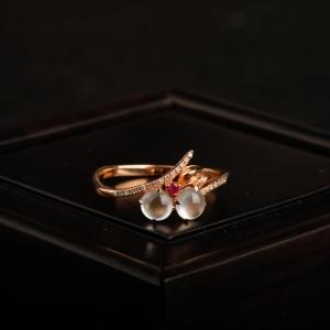 18K金鑲冰種翡翠戒指