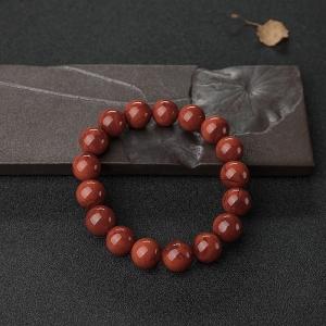 12.5mm柿子紅南紅單圈手串