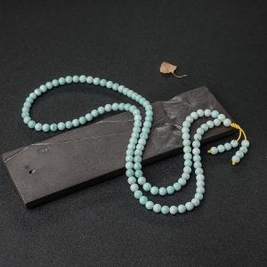 7mm中高瓷铁线浅蓝绿松石108佛珠