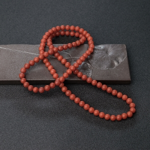 7mm柿子红南红珠链