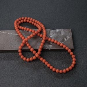 7.5mm柿子红南红珠链