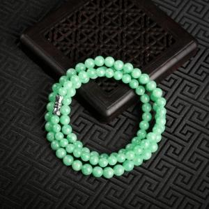5.5mm糯种翠绿翡翠项链