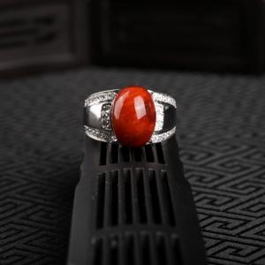 銀鑲火焰紋南紅戒指