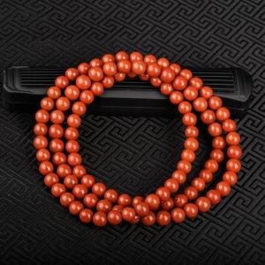 8mm玫瑰红南红多圈手串