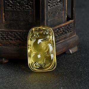 柠檬黄金绞蜜辰龙吊坠