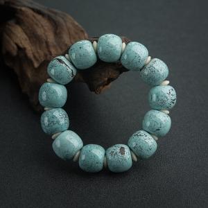 高瓷乌兰花蓝绿绿松石苹果珠单圈手