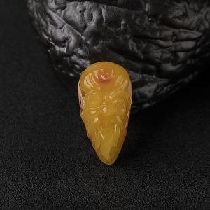 鸡油黄蜜蜡寿星吊坠