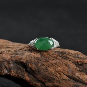 银镶糯冰种深绿翡翠戒指
