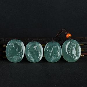 糯冰种蓝绿翡翠百家争鸣套装