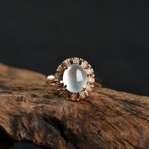 18k金镶高冰种翡翠戒指