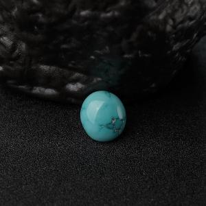 高瓷铁线蓝绿松石蛋面戒面