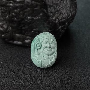 高瓷铁线浅蓝绿松石藏族法王吊坠