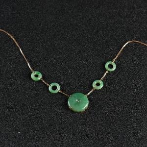18k糯種暗綠翡翠平安團圓項鏈