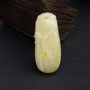带皮柠檬黄蜜蜡竹节吊坠